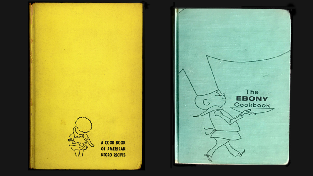 Covers from two editions of Freda DeKnight's cookbook. The first edition was called A Date With A Dish. Later updates were rebranded as The Ebony Cookbook.