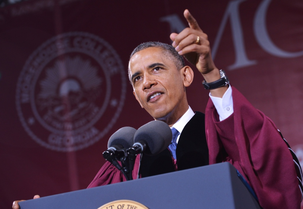 President Barack Obama delivers the commencement address during a ceremony at Morehouse College on May 19, 2013 in Atlanta, Georgia