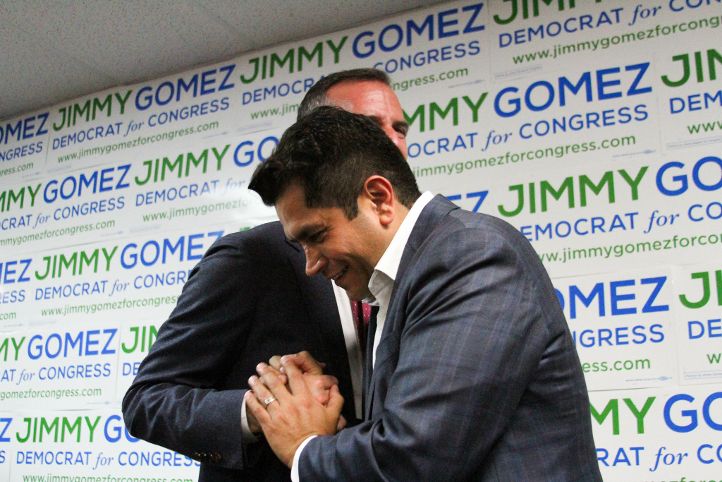 Los Angeles Mayor Eric Garcetti, left, congratulates Jimmy Gomez, right, after Gomez announced his victory in the 34th Congressional District race at his campaign headquarters on June 6, 2017 in Los Angeles, California. Wendy Carrillo and Luis Lopez are running to replace Gomez in the California Assembly.