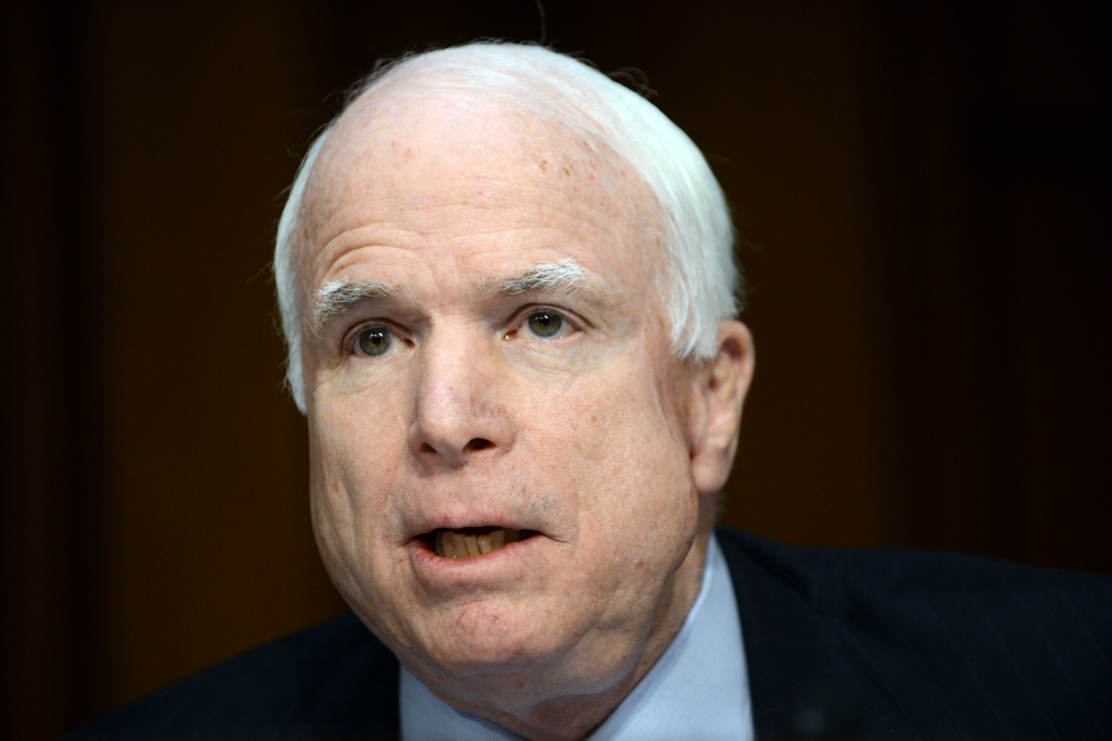 US Sen. John McCain (R-AZ) speaks before the Senate Foreign Relations Committee during a hearing on Capitol Hill in Washington, DC, on January 23, 2013.