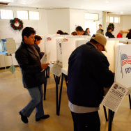 Voters go to the polls for Super Tuesday primaries in the predominantly Latino neighborhood of Boyle Heights on February 5, 2008 in Los Angeles, California.