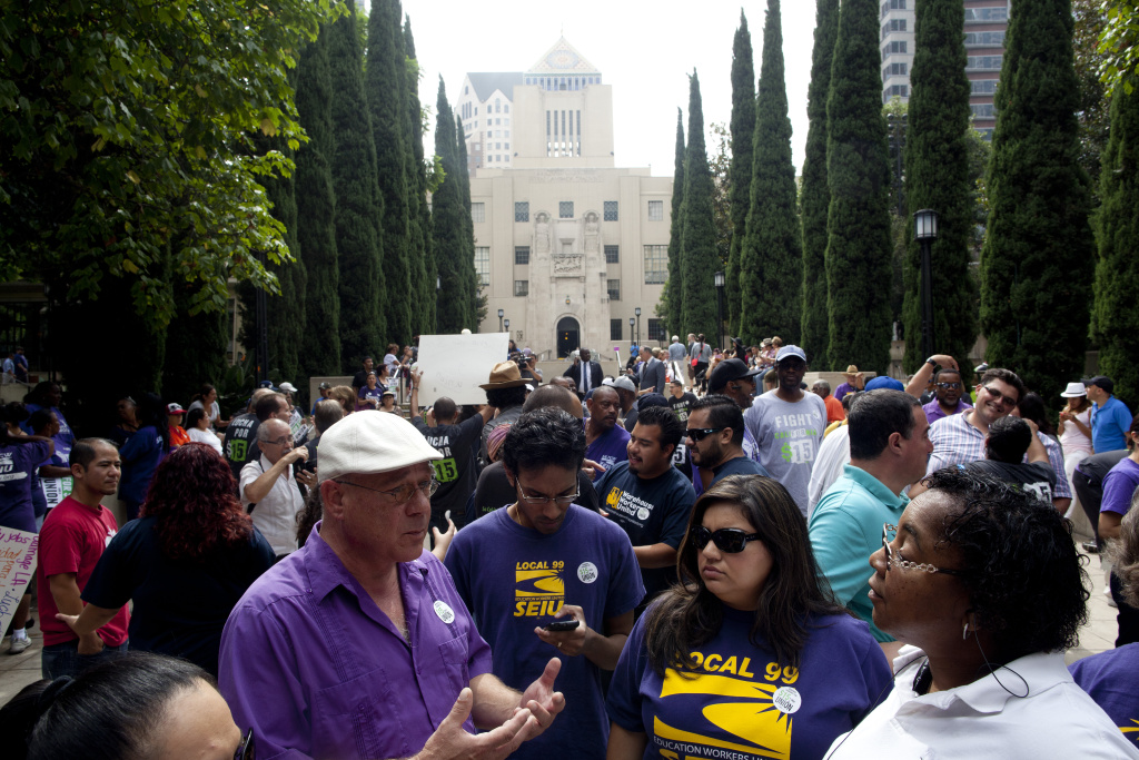 SEIU union members join fast food workers that went on strike nation-wide to protest for a $15 minimum wage outside of the Central Library in Downtown Los Angeles.