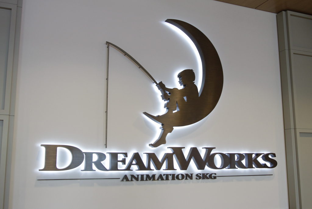 A sign for DreamWorks Animation is shown in this July 19, 2012, file photo during a ground breaking opening of DreamWorks studios in Redwood City, Calif. The company — known for animated movies such as
