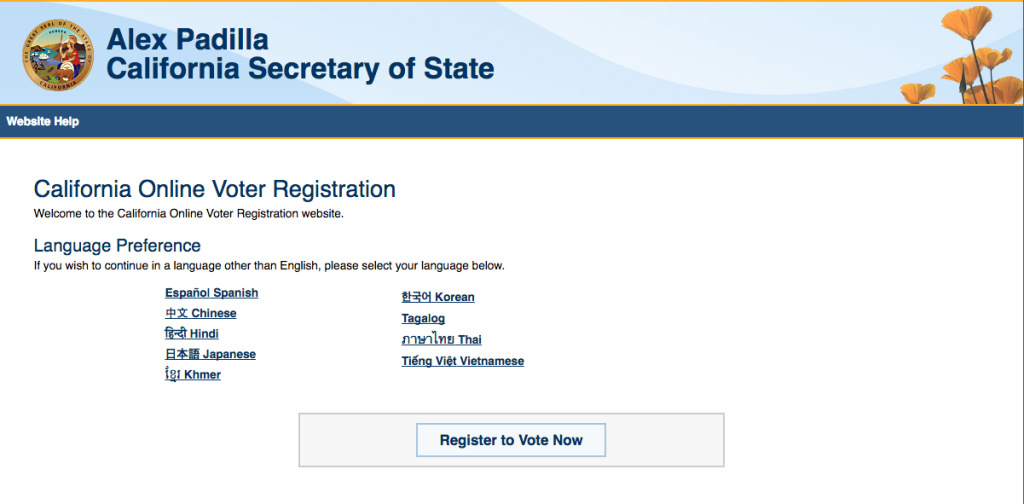 Screenshot from California's voter registry website. The deadline to register in California is Monday, October 24th.