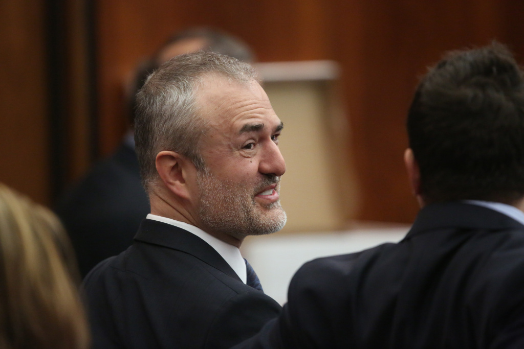 Nick Denton, founder of Gawker, talks with his legal team before Terry Bollea, aka Hulk Hogan, testifies in court during his trial against Gawker Media in St Petersburg, Florida in March. Gawker went off-line yesterday.