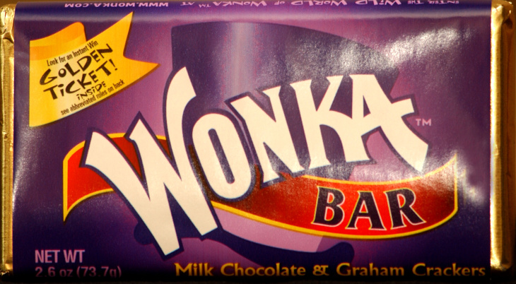 A Wonka chocolate bar produced for the 30th anniversary of the film