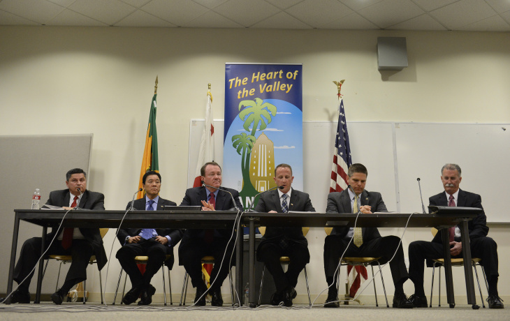 Los Angeles County Sheriff candidates gather at the Van Nuys Civic Center in Van Nuys for a debate on Wednesday, March 12, 2014. .