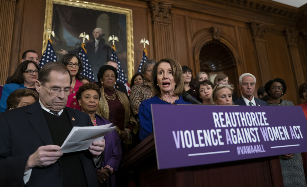 Speaker Nancy Pelosi, joined by House Democrats, speaks about plans to reauthorize the Violence Against Women Act on March 7, 2019 at the U.S. Capitol.