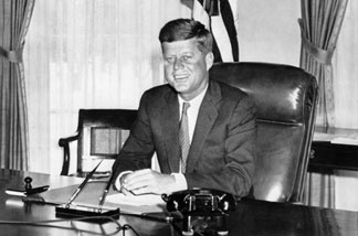 John Fitzgerald Kennedy (1917-63), pictured in the 1960s in the White House in Washington, DC.