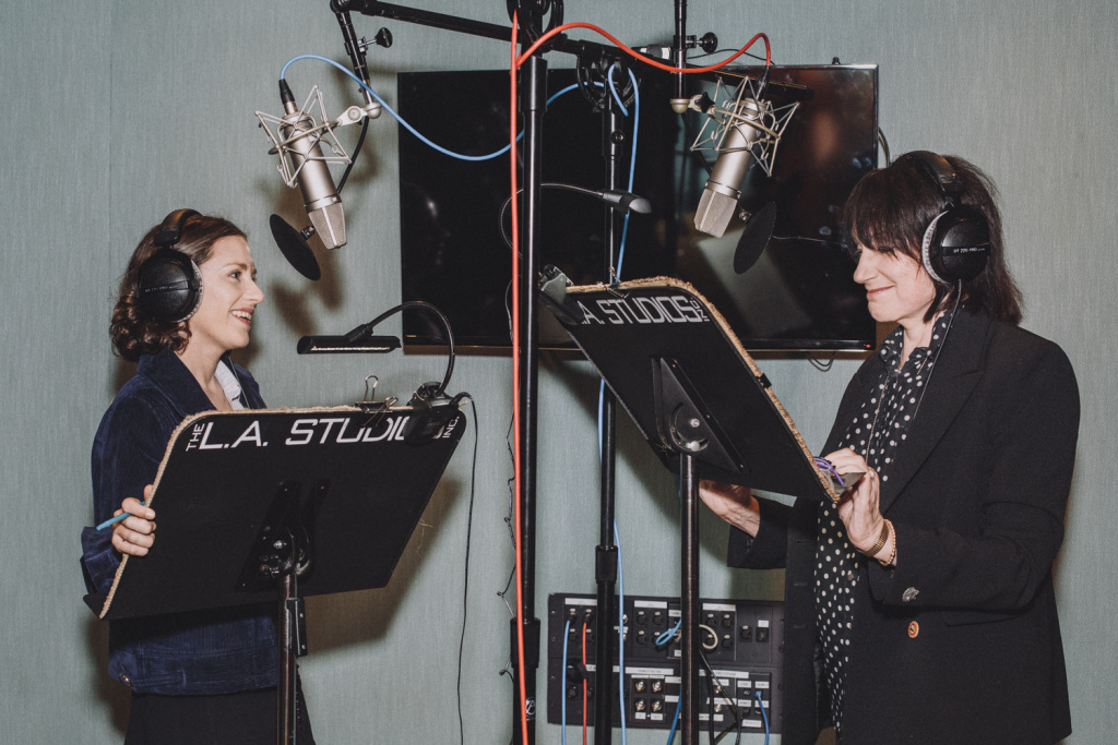 Megan Koester, left, and Merrill Markoe wrote and recorded the audiobook,
