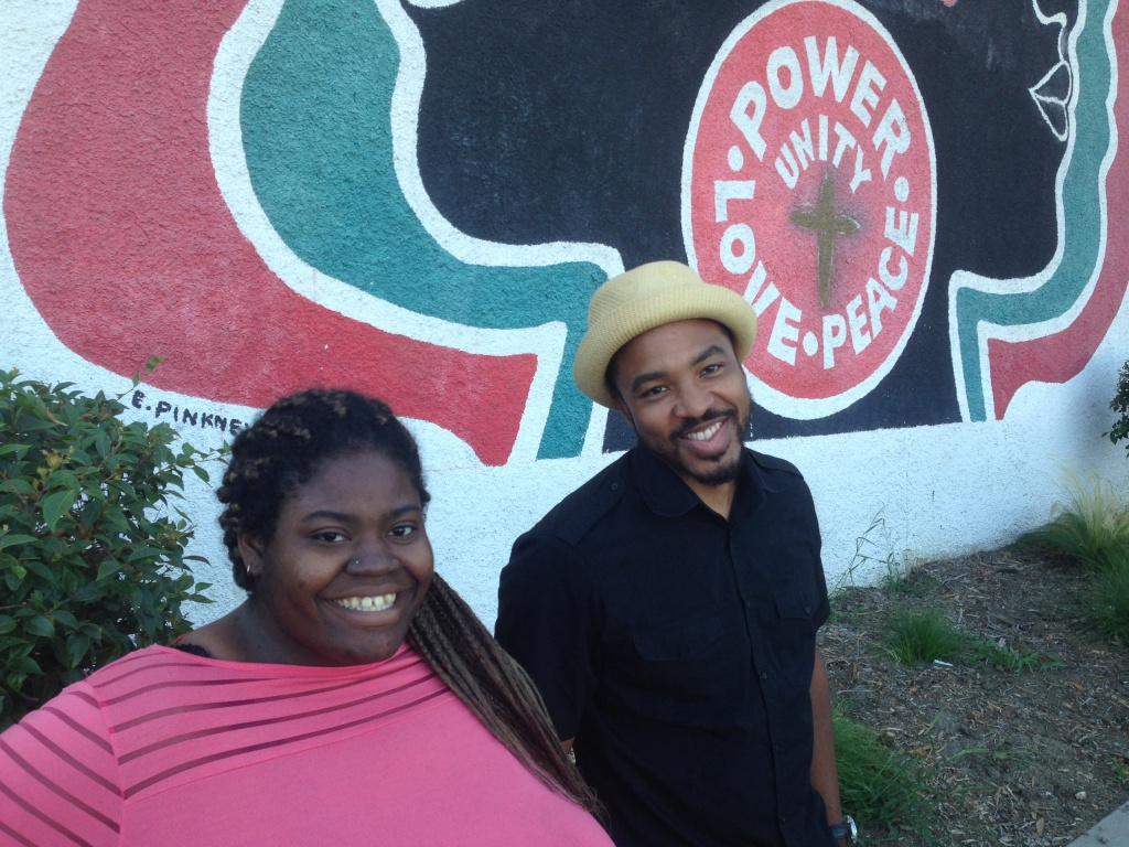 Devonne Bowman and Bruce Lemon Jr. in front of the Mafundi Building in Watts