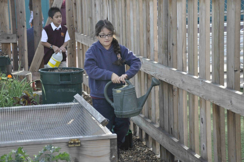 A student participates in a gardening class organized by A Place Called Home, a nonprofit located on Central Avenue in South Los Angeles. The effectiveness of environmental literacy programs may be boosted when they take place outdoors, says a new study.