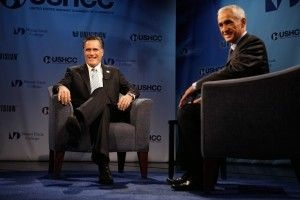 "Republican presidential candidate Mitt Romney, left, with Univision's Jorge Ramos in a ""Meet the Candidate"" forum in Miami, January 25, 2012"