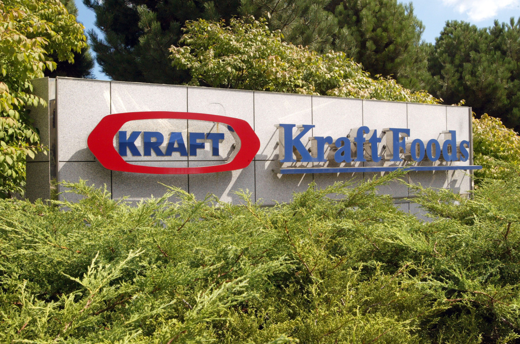 A Kraft Foods sign is displayed near its corporate headquarters August 5, 2003 in Northfield, Illinois.