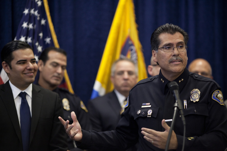 The incoming Long Beach Police Chief Robert Luna thanks his supporters during a press conference to announce this new appointment. The outgoing chief, Jim McDonnell, will become the new Los Angeles County Sheriff after winning the seat in the recent election.