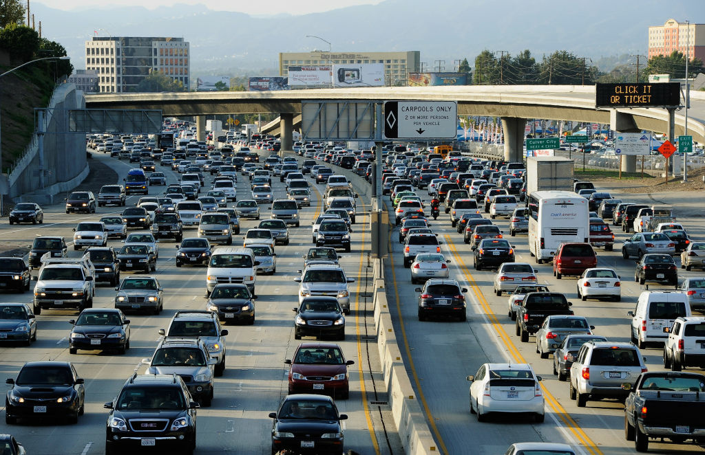 Traffic comes to a stand still on the northbound and the southbound lanes of the Interstate 405 freeway near Los Angeles International Aiprort,