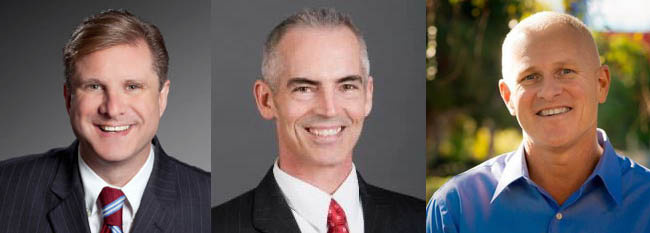 On July 1, Los Angeles will have three openly gay elected officials, (L-R)  Controller-elect Ron Galperin and councilmen-elect Mitch O'Farrell and Mike Bonin.