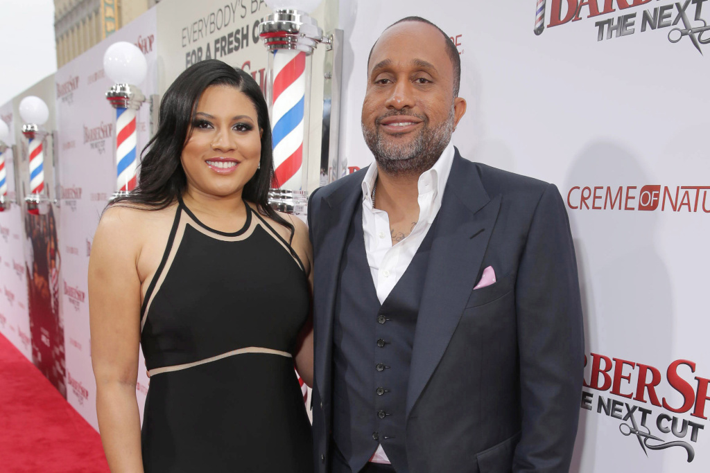 Writer Tracy Oliver and writer/producer Kenya Barris at the L.A. premiere of