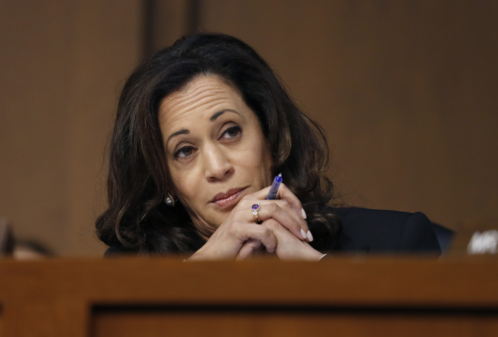 Sen. Kamala Harris, D-Calif., reacts during a Senate Intelligence Committee hearing about the Foreign Intelligence Surveillance Act, on Capitol Hill, Wednesday, June 7, 2017. (AP Photo/Alex Brandon)