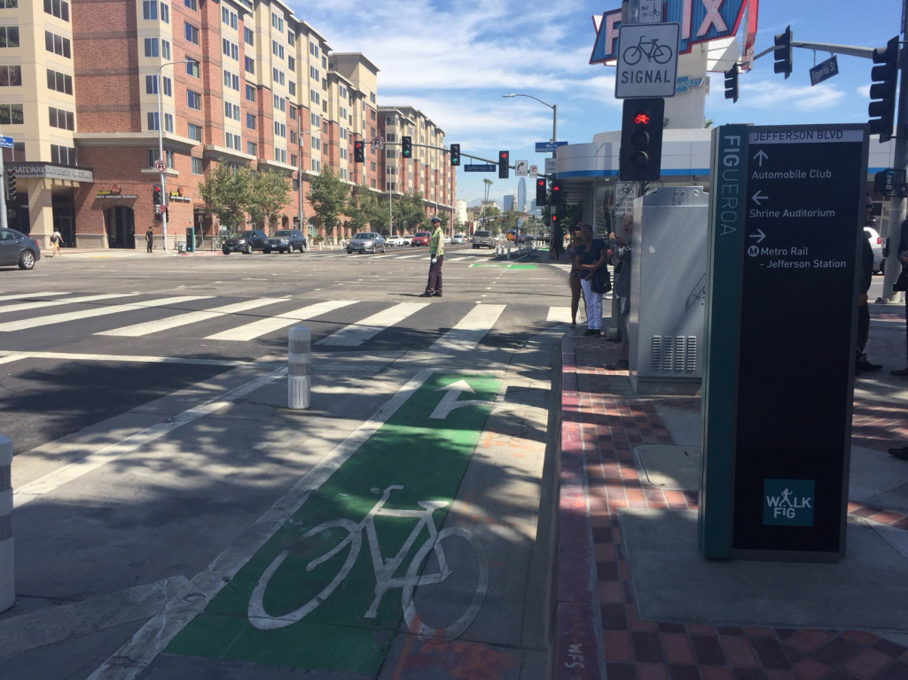 The My Figueroa project has officially opened along four miles of the busy Figueroa Street between downtown L.A. and the USC/Exposition Park area, adding bike lanes, wider sidewalks, new crosswalks and landscaping.