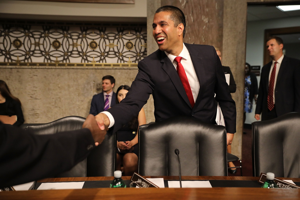 Federal Communications Commission Chairman Ajit Pai at his confirmation hearing for a second term as chair of the commission before the Senate Commerce, Science and Transportation Committee on Capitol Hill July 19, 2017 in Washington, DC.