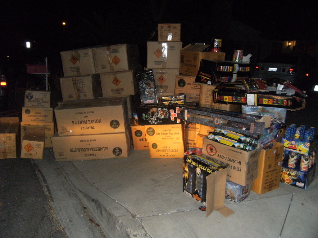 Deputies seized about 3,000 pounds of illegal fireworks from a residential garage near the City of Industry.