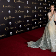 "Actress Lily James arrives at the premiere of Disney's ""Cinderella"" at the El Capitan Theatre on March 1, 2015 in Los Angeles, California."
