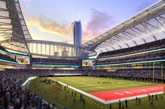 In this rendering released by AEG, the proposed football stadium to house a NFL team in Los Angeles, California is seen.