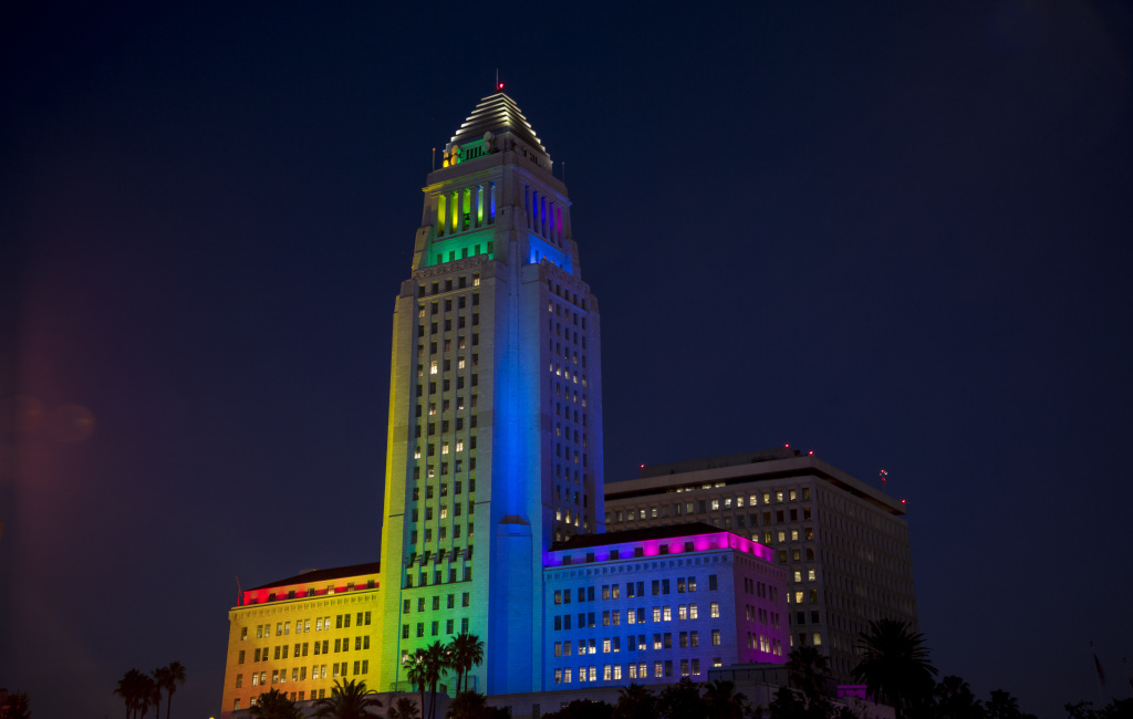 A view of Los Angeles' City Hall photographed on June 12, 2016, during Pride month.