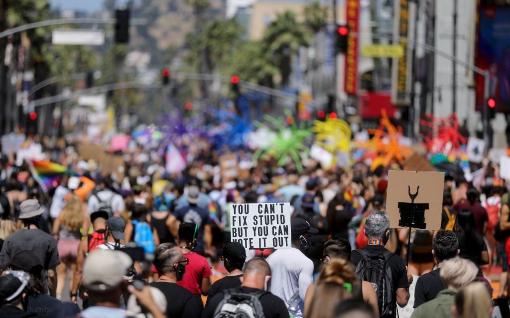 Protesters gather on Hollywood Boulevard during the All Black Lives Matter solidarity march, replacing the annual gay pride celebration, as protests continue in the wake of George Floyd's death on June 14, 2020 in Los Angeles, California.