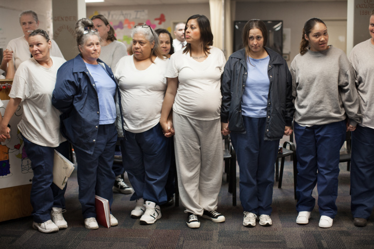 Regina Zodiacal attends a rehabilitation class at the women's prison in Chino, Calif. Seven months into her pregnancy, Zodiacal feared being