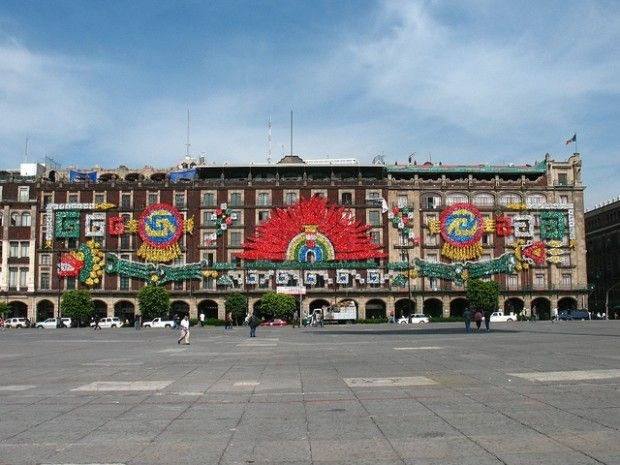 Bicentennial decorations in Mexico City's Plaza de la Constitución, August 2010