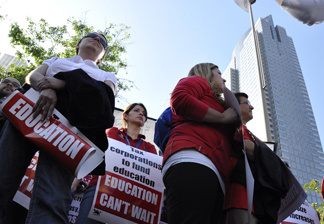 Demonstrators protest LAUSD's proposed budget cuts at a rally at L.A.'s Pershing Square on Friday, May 13, 2011.