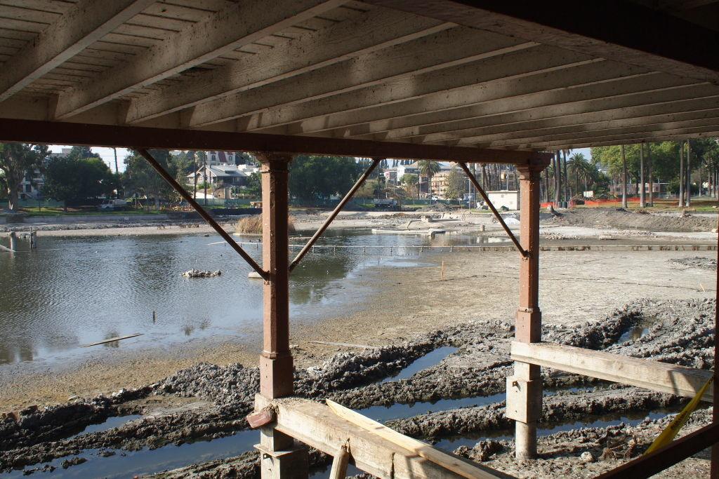 View from the Echo Park Lake boathouse, mid-renovation.