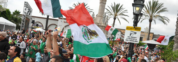 Fans gather to watch Mexico vs. South Africa World Cup 2010 game at Plaza Mexico in Lynwood, California