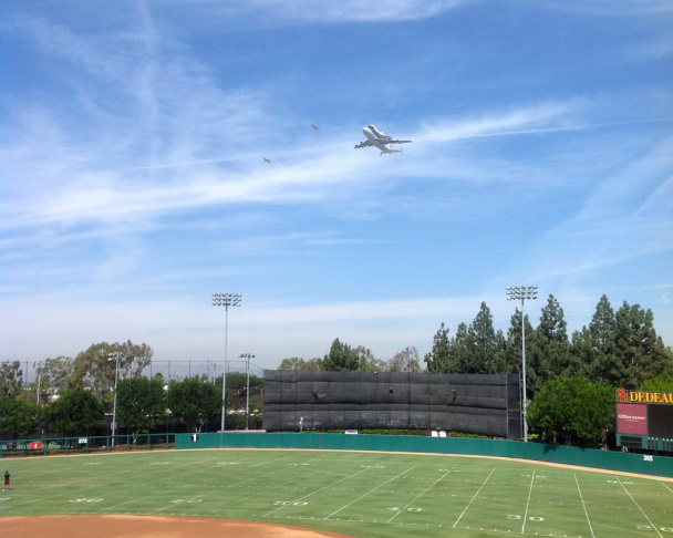 Endeavour over USC Dedeaux Field