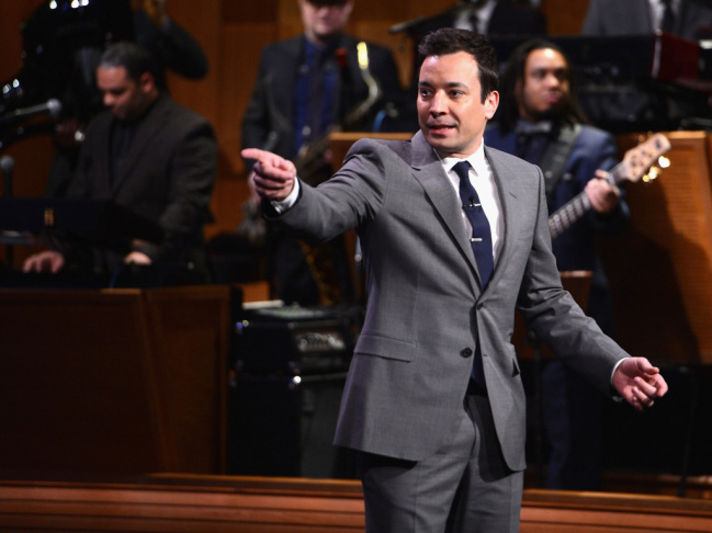 Jimmy Fallon during his debut Monday as host of NBC's The Tonight Show.