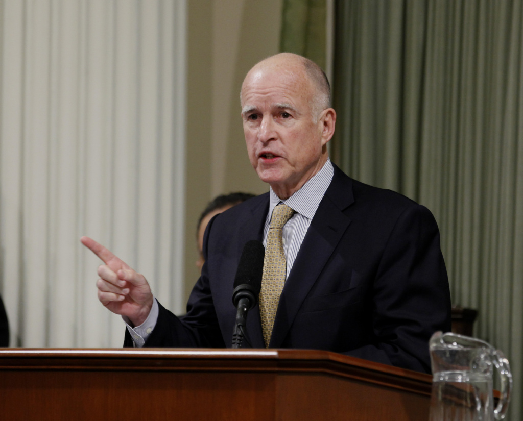 Gov. Jerry Brown deliver his State of the State address before a joint session of the Legislature at the Capitol in Sacramento, Calif., Wednesday, Jan. 18, 2012.   Brown urged lawmakers to help make California great again by taking on major initiatives and funding schools.