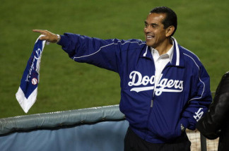 Los Angeles Mayor Antonio Villaraigosa cheers on the Los Angeles Dodgers against the St. Louis Cardinals in Game One of the NLDS during the 2009 MLB Playoffs at Dodger Stadium on October 7, 2009 in Los Angeles, California.