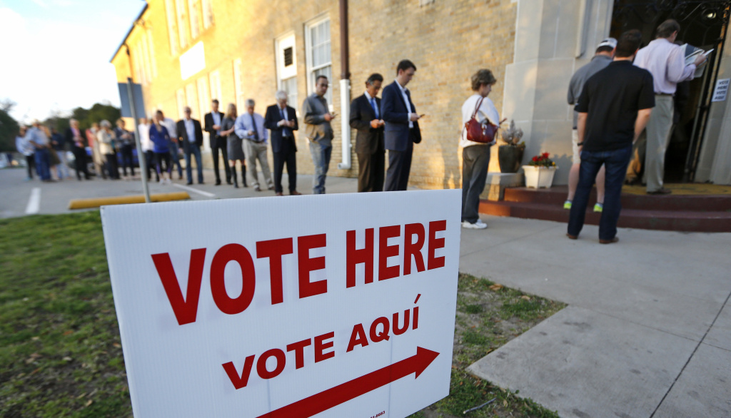 Voters in Fort Worth, Texas, line up to cast their ballots on Super Tuesday, March 1, 2016. Voters in 13 states and American Samoa are holding presidential primary elections, with over 1,400 delegates at stake.