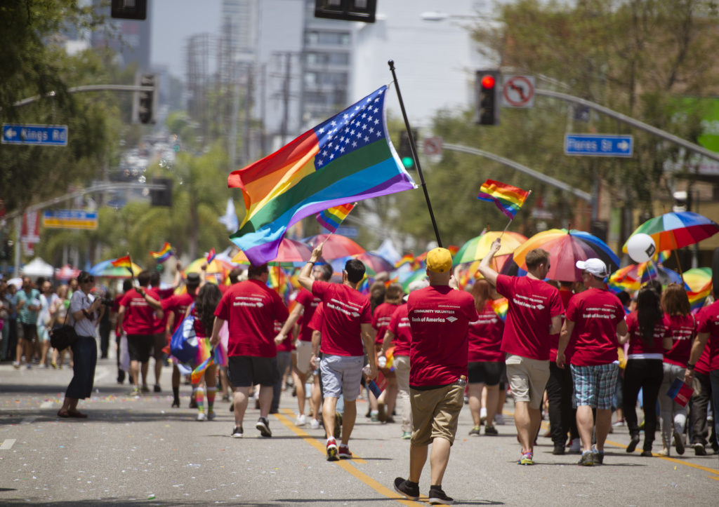 File: A general view of atmosphere during the 2014 LA Gay Pride Parade on June 8, 2014 in West Hollywood, California.