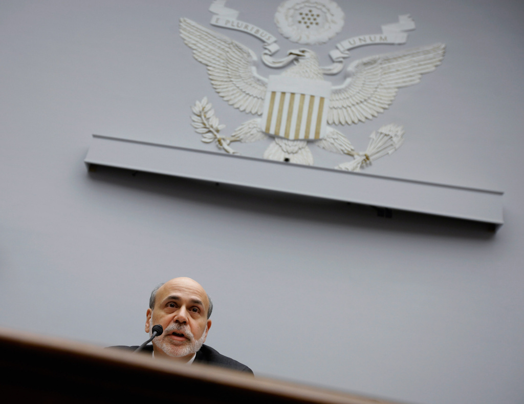 WASHINGTON, DC - FEBRUARY 29:  Federal Reserve Bank Board Chairman Ben Bernanke testifies before the House Financial Services Committee on Capitol Hill February 29, 2012 in Washington, DC. Bernanke was testifying about the Fed's Semiannual Monetary Policy Report.  (Photo by Chip Somodevilla/Getty Images)