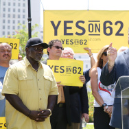 File: Eric Bauman (R) speaks onstage during the Yes on Prop 62 Coalition Announcement at Los Angeles Grand Park on July 14, 2016.