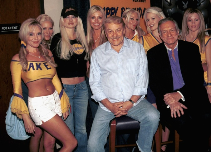 Hugh Hefner Celebrates 77th Birthday At Lakers Game