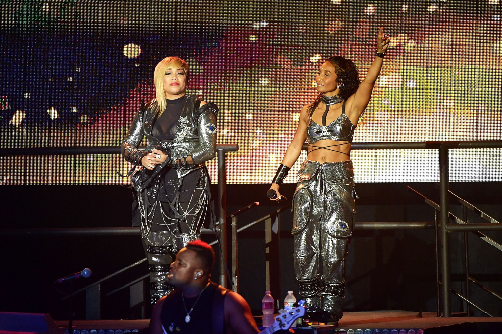 Tionne 'T-Boz' Watkins and Rozonda 'Chilli' Thomas of TLC perform during the I Love The 90s: The Party Continues concert at The Greek Theatre on July 14, 2017.