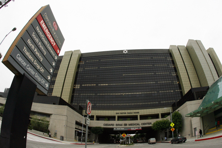 View of the Cedars Sinai Hospital in Los