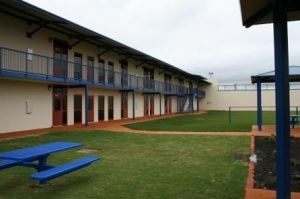 Part of the interior grounds at the new privately-run Karnes Civil Detention Center in Karnes City, Texas