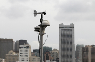 File photo: A RadNet radiation monitor is seen on the roof of the Bay Area Air Quality District offices on March 16, 2011 in San Francisco, California.