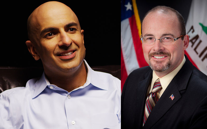 Republican California gubernatorial candidate Neel Kashkari (L) is an investment banker who briefly served as Assistant Secretary of the Treasury for Financial Stability in the first Obama administration. Republican Assemblyman Tim Donnelly (R) of San Bernardino is best known for his far-right positions on gun control and immigration.