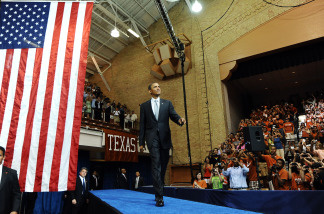 US President Barack Obama arrives on stage to speak on higher education and the economy at the University of Texas in Austin, Texas, on August 9, 2010.